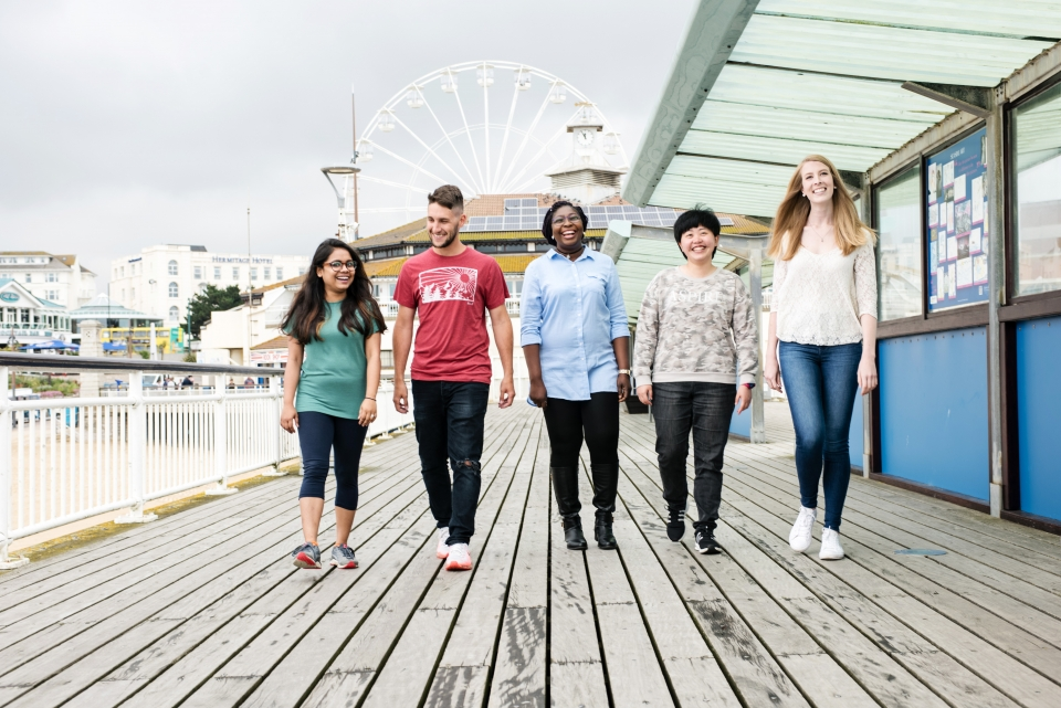 Group of students on Bournemouth Pier