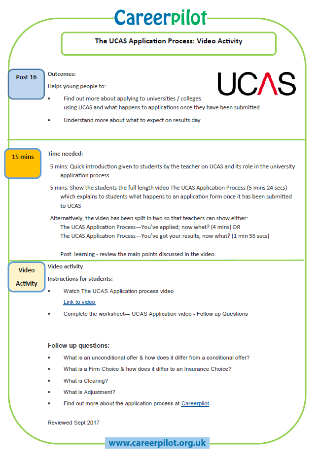 download the ucas application process video activity sheet